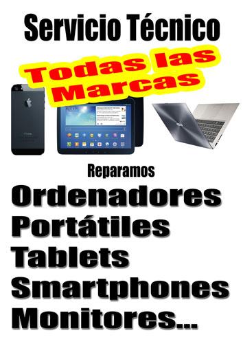 Servicio Técnico de Ordenadores, portátiles, tabletas, smartphones, monitores etc...